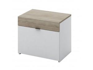 My Box Κομοδίνο 2Συρταρια Sonoma Σκούρο Λευκό High Gloss