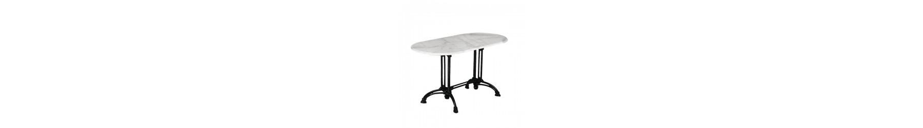 Τραπέζια με σκελετό από μαντέμι και επιφάνεια από μάρμαρο