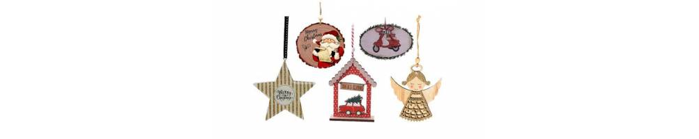 Ξύλινα διακοσμητικά στολίδια σε Χριστουγεννιάτικα θέματα