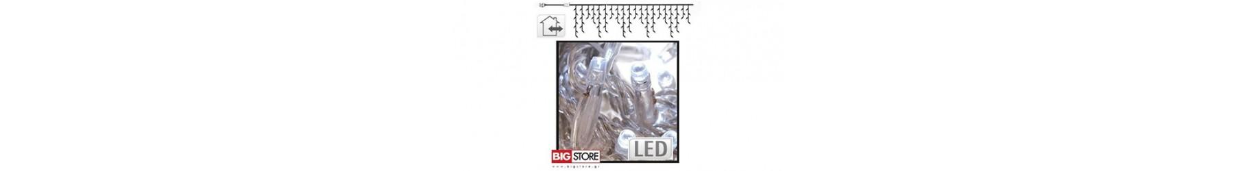 Κουρτίνες LED ασύμμετρες για Χριστουγγενιάτικη διακόσμηση