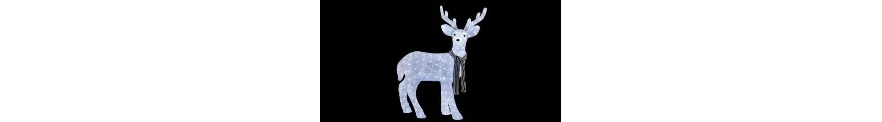 Φωτιζόμενα Χριστουγεννιάτικα ελάφια διακόσμησης